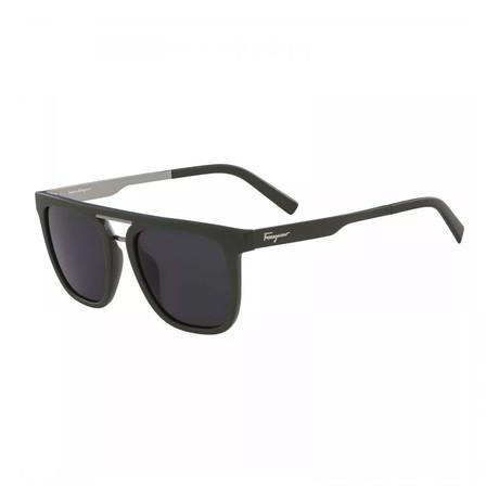 Ferragamo // Men's Modified Rectangle Sunglasses // Matte Green + Gray