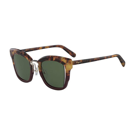 Ferragamo // // Modified Rectangle Sunglasses // Havana Green + Green
