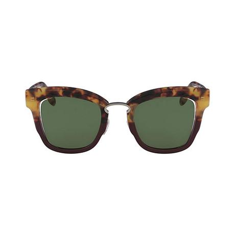 Ferragamo // Modified Rectangle Sunglasses // Havana Green + Green