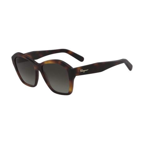 Ferragamo // Modified Rectangle Sunglasses // Tortoise + Brown Gradient