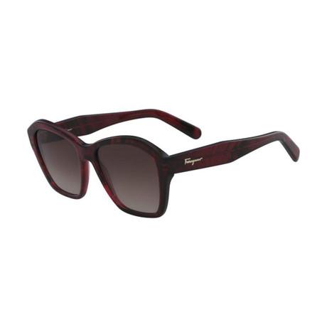 Ferragamo // Modified Rectangle Sunglasses // Striped Red + Brown Red
