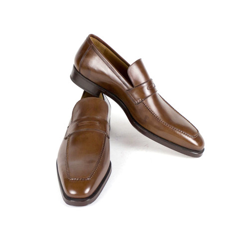 Sutor Mantellassi // Leather Penny Loafers Shoes // Brown (US: 10)