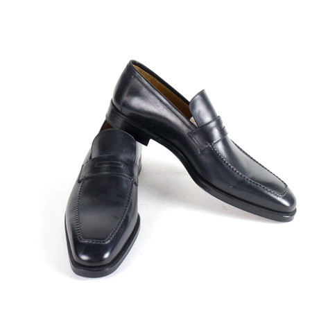 Sutor Mantellassi // Leather Penny Loafers Shoes // Blue (US: 10)