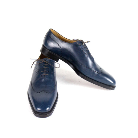 Sutor Mantellassi // Leather Wingtip Oxford Shoes // Blue (US: 10)