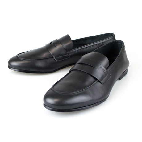 Prada // Leather Penny Loafers Dress Shoes // Black (US: 8)