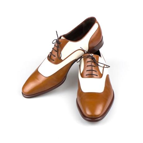 Brioni // Leather + Canvas Oxfords Dress Shoes // Brown (8.5)