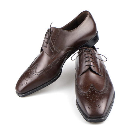 Brioni // Leather Brogue Pattern Oxford Dress Shoes // Brown (8.5)