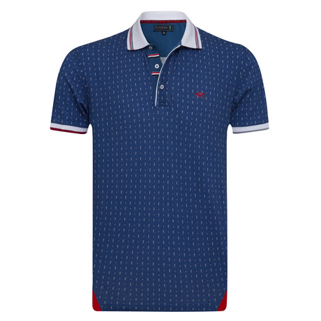 Darker Printed Short Sleeve Slim Fit Polo // Indigo (XS)