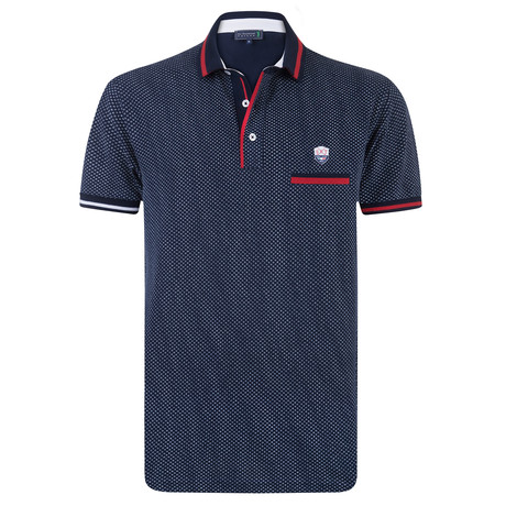 Appendix Printed Short Sleeve Slim Fit Polo // Navy (XS)