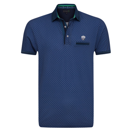 Appendix Printed Short Sleeve Slim Fit Polo // Denim Blue (L)