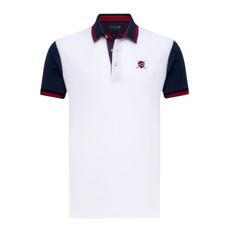 Mainly Short Sleeve Polo // White + Navy (XS)