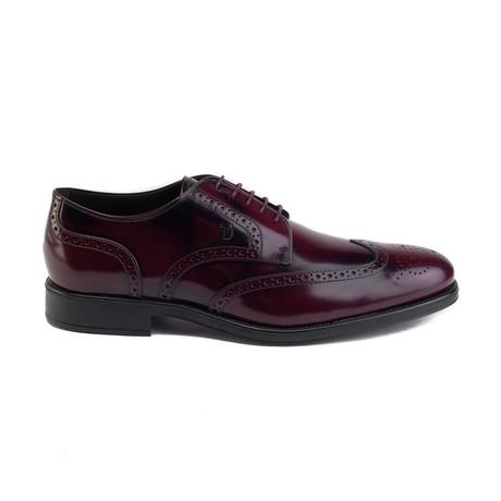 Derby Brogue Leather Dress Shoe // Burgundy (UK 5)