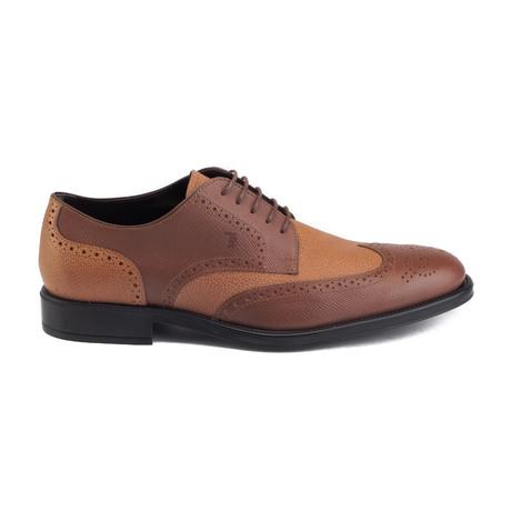 Saffiano Leather Derby Brogue Dress Shoe // Light Brown (UK 7)