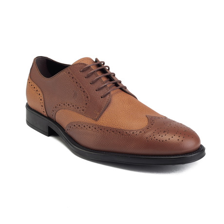 Saffiano Leather Derby Brogue Dress Shoe // Light Brown (US: 6)