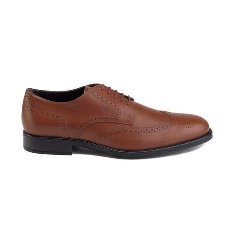 Lace Up Leather Derby Brogue // Light Brown (UK 7)
