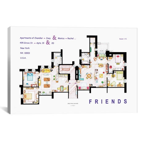 """The Apartments From Friends (26""""W x 18""""H x 0.75""""D)"""