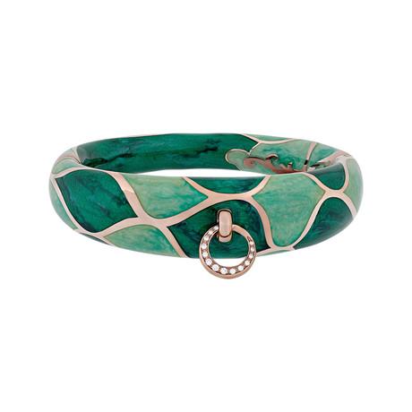 Nouvelle Bague Kenya 18k Rose Gold Diamond Green Bangle Bracelet