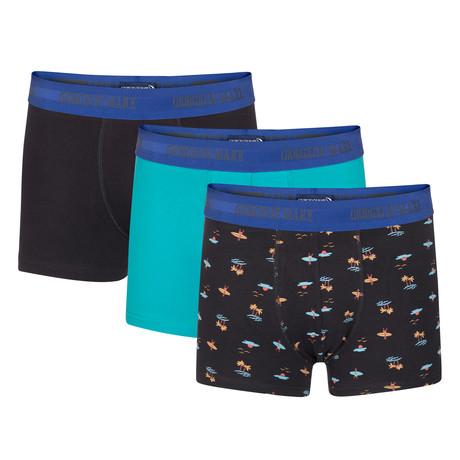 Boxer Short // Black + Teal + Beach Pattern // Set of 3 (S)