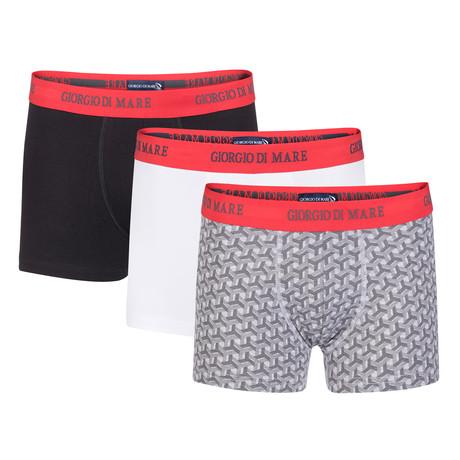 Boxer Short // Black + Patterned + White // Set of 3 (S)