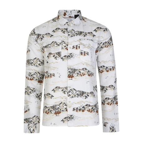 Cheyenne Mountain Printed Button Up // White (S)