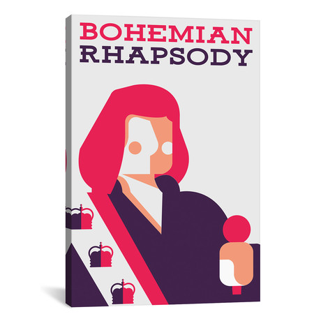"Bohemian Rhapsody Minimalist Poster // Farrokh Bulsara // Popate (18""W x 26""H x 0.75""D)"