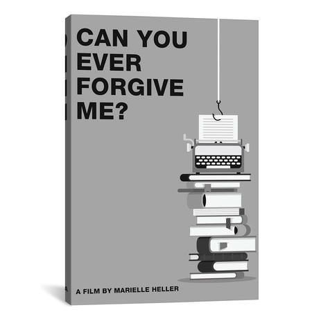 """Can You Ever Forgive Me Minimalist Poster // Black + White (18""""W x 26""""H x 0.75""""D)"""