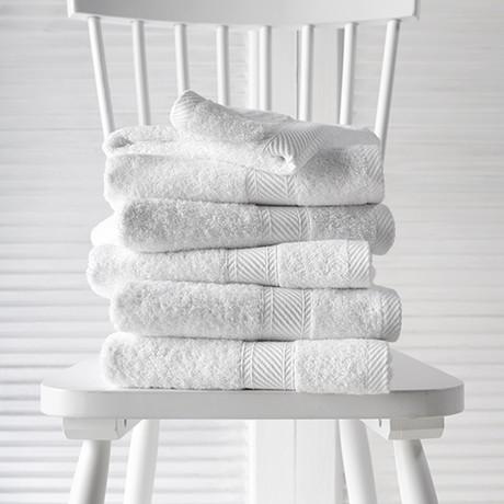 Helene Bath Linen Set // White (Set of 6 // Bath Mitts)
