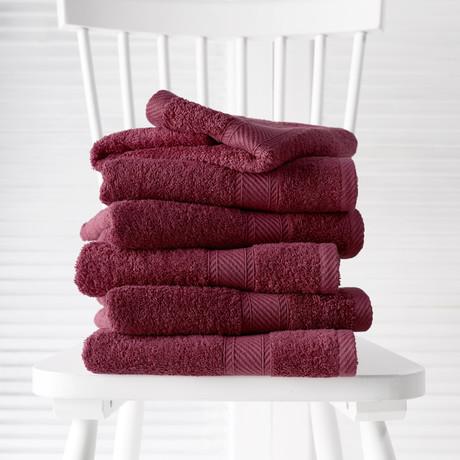 Helene Bath Linen Set // Beet Red (Set of 6 // Bath Mitts)