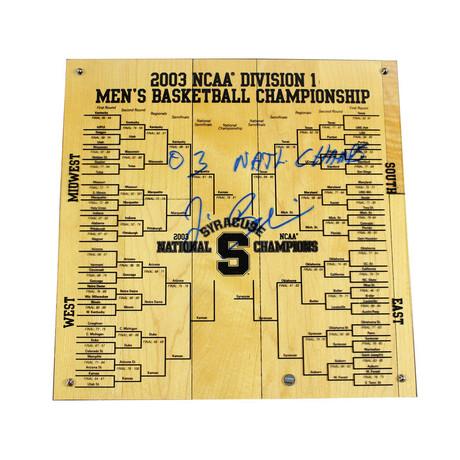 Jim Boeheim // Signed Syracuse Basketball + '03 Natl Champs Inscripted Engraved Bracket