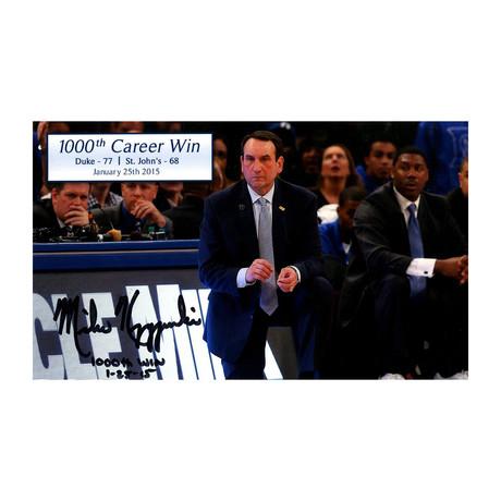 Mike Krzyzewski // Signed 1000th Career Win Photo + Inscription