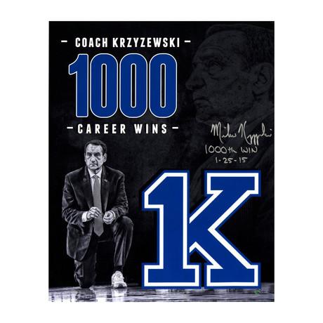 """Mike Krzyzewski // Signed 1000th Career Wins Tribute Photo // 16""""w x 20""""H"""