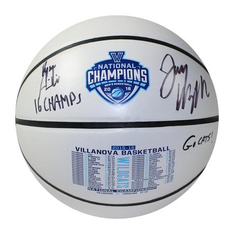 Jay Wright + Ryan Arcidiacono // Signed + Inscribed White Panel Basketball