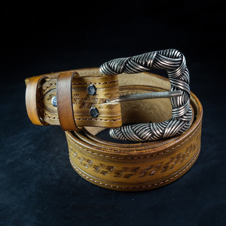 Handcrafted Genuine Leather Belt // 002 // Brown (S)
