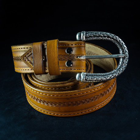 Handcrafted Genuine Leather Belt // 005 // Brown (S)