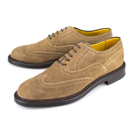 Canali // Suede With Wingtip Design Oxford Dress Shoes // Brown (US: 8)