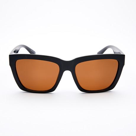 Women's Square Polarized Sunglasses // Black + Dark Brown