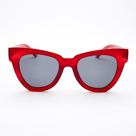 Women's Geometric Polarized Sunglasses // Red