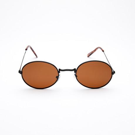 Unisex Oval Polarized Sunglasses // Black