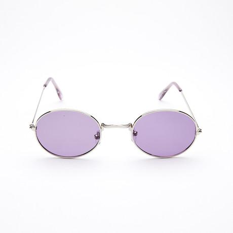 Unisex Oval Polarized Sunglasses // Silver