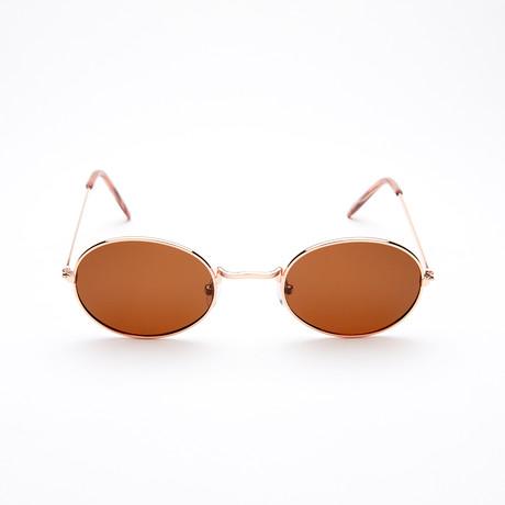 Unisex Oval Polarized Sunglasses // Gold