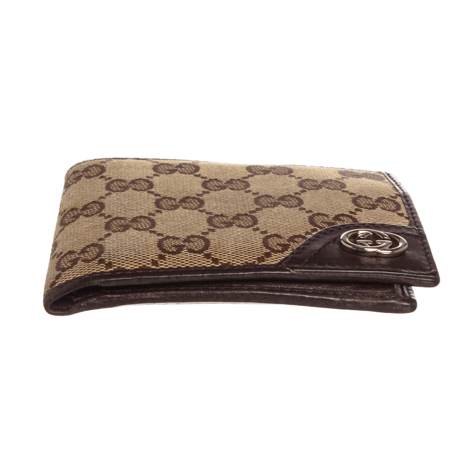 c259aaa2ed0800 Gucci // Beige Tan GG Canvas Leather Trim Bifold Wallet // 1816712067 //