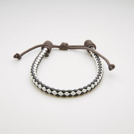Braided Leather Adjustable Slider Bracelet // Ivory + Black