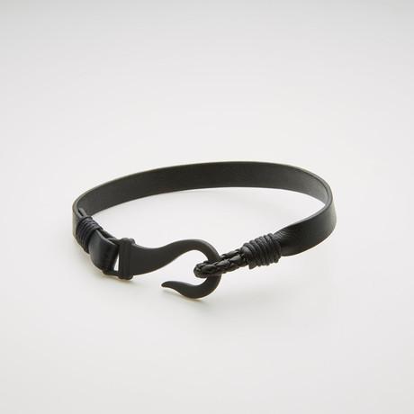 Hook + Leather Cord Bracelet // Black