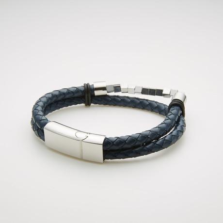 Cube Beaded Double Stranded Bracelet // Blue + White