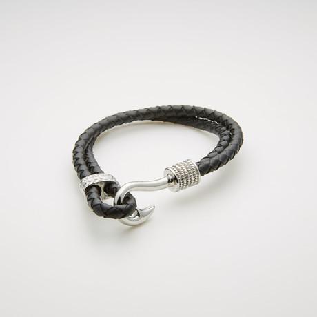 Hook + Double Stranded Braided Leather Bracelet // Black + White