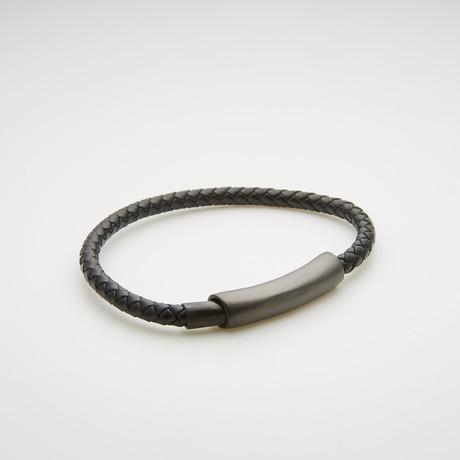 Cylinder Station + Braided Leather Magnetic Bracelet // Black