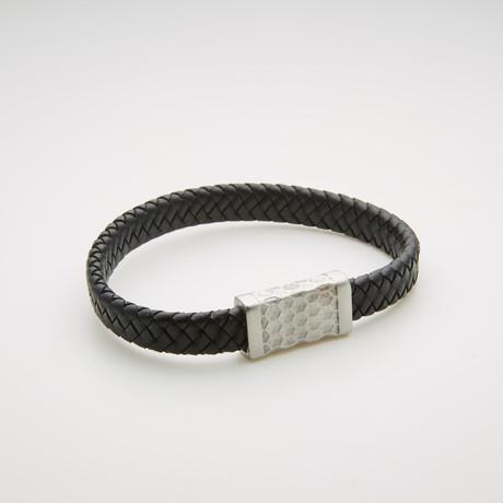 Woven Leather Magnetic Bracelet // Black + White