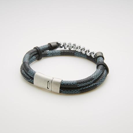 Double Stranded Rondelle Beaded + Leather Bracelet // Black + Blue