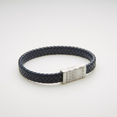 Woven Leather Magnetic Bracelet // Blue + White