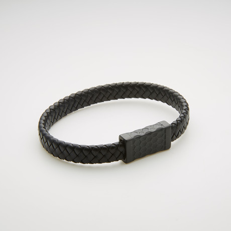 Willowbird // Woven Leather Magnetic Bracelet // Black